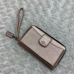 Coach Rose Gold Universal Phone Wallet Wristlet